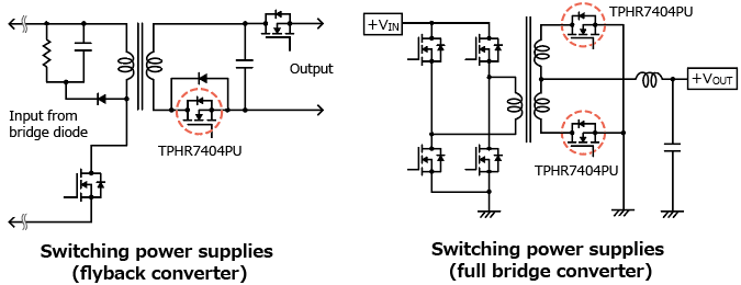 A low-spike-type 40 V N-channel power MOSFET that helps reducing EMI of power supplies : TPHR7404PU